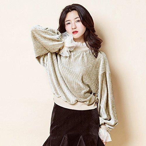 Xuanku Frau Lose Wolle Pullover Nähen Net Garn Semi-Hoher Kragen Laterne Muffe Farbe T-Shirt, Alle Code, Beige