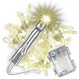 Nipach GmbH 100 LED Lichterkette warm-weiß mit Timer für Innen Aussen transparentes Kabel Batterie 10 Meter Weihnachtsdeko Partydeko Partylichter