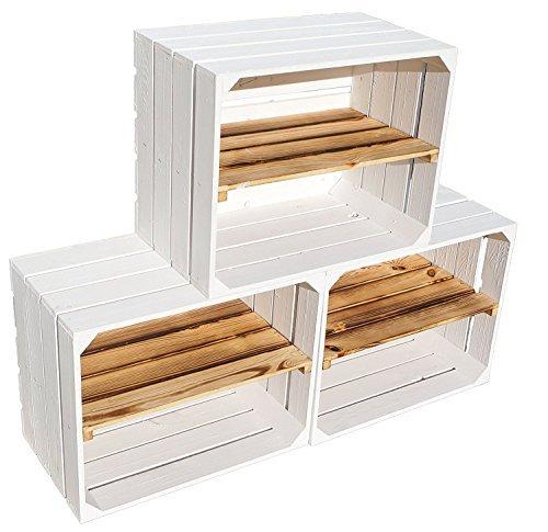 Weiße Holzkiste mit geflammtem Mittelbrett -längst- Schuhregal Bücherregal aus Obstkisten...