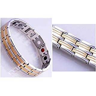 New Gold Plated 4in1 Bio Health Magnet/Germanium/White Ion & FIR stone Elements-High quality Energy Magnetic BRACELET Wristband PAIN RELIEF with Fold-Over Clasp +Gift Box+Link Removal Tool (21 cm, Light blue Gift Box)
