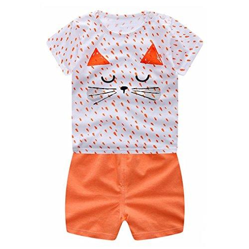Clearance Sale!OverDose Newborn Infant Baby Girls Boys Outfits Cartoon Cat T-Shirt + Shorts 2PCS Set