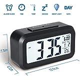 Colico Smart LED-Digital-Wecker, Snooze 5 Minuten, bald aufhören Alarmknöpfe, mit Datum, Temperatur- und Lichtsensor (Schwarz)