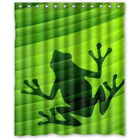 Generic Personalized Frog Shadow Silhouette Print On The Green Lotus Leaf Nature Art Design Sold By Too Amazing Shower Curtain Bath Decor Curtain 60