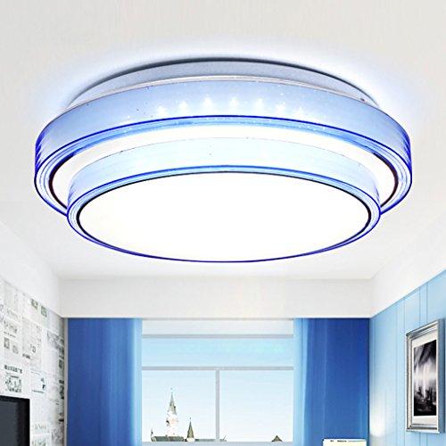 Europäische LED Acryl Schlafzimmer Runde Deckenleuchte (Farbe : Blau-50CM/36W)