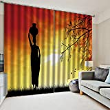 WKJHDFGB Verdunkelungs Gardinen Blickdicht Schlafzimmer Vorhang 3D Print Frauen Im Sonnenuntergang In Afrika Hochpräzise Schwarze Seide 215X320Cm