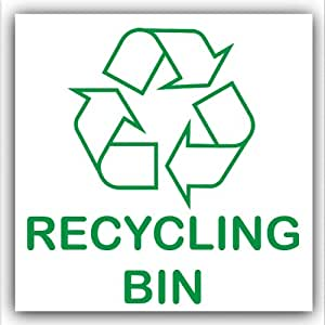 Recycling Bin-Adhesive Sticker-Recycle Logo Sign-Environment Label by Platinum Place