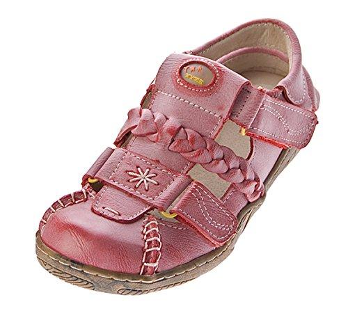 TMA sandales pour femme en cuir véritable-fermeture velcro chaussures 2 x noir/blanc/rouge/jaune/vert/bleu/effet usé femme Rouge - Rouge