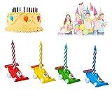 MEDIA WAVE store 565110 Set Porta candeline a Forma di macchinina 12 Pezzi compreso di candeline