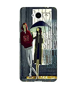 For Microsoft Lumia 650 :: Microsoft Lumia 650 Dual SIM couple, girl in umbrella, good quotes, door Designer Printed High Quality Smooth Matte Protective Mobile Case Back Pouch Cover by APEX