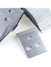 SODIAL(R) 100X Exhibidor Tarjeta Plastico Rectangular Color Plata para Pendientes