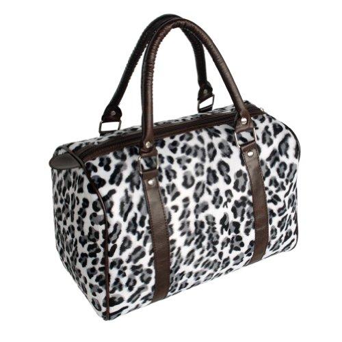 [Profitez d'une vie] Blanc Léopard fourrure en similicuir Poignée double sacoche sac à main sac à main