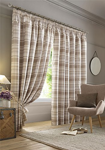 HIGHLAND TARTAN CHECK PLAID BEIGE CREAM SILVER PENCIL PLEAT FULLY LINED CURTAINS 90″ X 90″