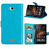 Sony Xperia C S39h Case, Codream Sony Xperia C S39h Leather Wallet Case Book Design With Flip Cover And Stand [Credit Card Slot] Cover Case Compatible With Sony Xperia C S39h - Blue