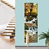 Bilderwelten Wandgarderobe - Wasserfall herbstlicher Wald - Garderobe, Größe HxB: 139cm x 46cm