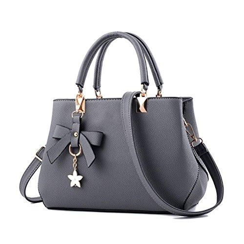 flintronic Damen Handtasche, Neu Fashion Klassische Handtaschen für Frauen PU Leder Schulterbeutel Taschen Umhängetasche (#2 grau) -