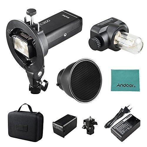 Godox AD200 Pocket Blitz Blitzlicht Flash Portable Mini TTL Speedlite mit 2 Lichtköpfen GN52 GN60 1 / 8000s HSS Eingebautes 2.4G Wireless X System 200W Starke Stromversorgung für Nikon Sony Canon EOS -