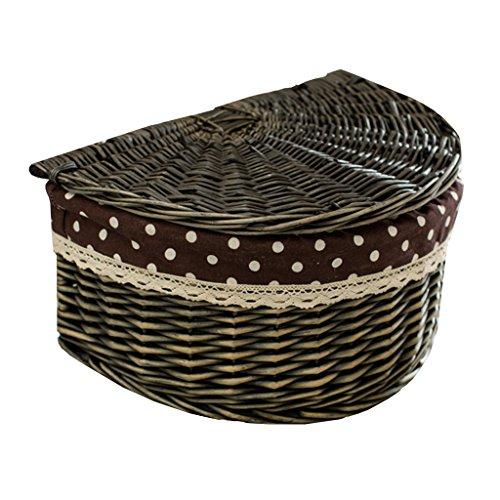 BBYE Willow Boxes Panier De Rangement / Rotin Panier De Vêtements Sale / Bureau Mettre Panier Choses / Avec Panier De Stockage De Couverture ( Style Facultatif) ( couleur : Dark Grey Color-1 )