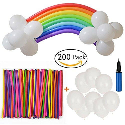 Amaoma 200 Stück Luftballons und 1 Ballonpumpe, Magic Modellierballons, Luftballon, Partyballon, Farbige Ballons, Bunte Ballons(100x Modellierballons + 100x Latex Ballon)