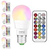 LED RGBW Lampe mit Fernbedienung | e27 farbwechsel led | 3W(ersetzt 20W) Dimmbare Birne mit RGB und Warmweiß(2700 Kelvin) | 3W E27 RGB LED Birnen - Dual Memory | für ambiente Beleuchtung Party Deko(4-er Pack)