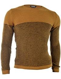 D&R Fashion Hommes Pull Sweatshirt Slim Fit Casual hiver Porter côtelé Haut ras du cou