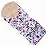 Fußsack NILS Fell von Baby-Joy NF-43 110cm Weiss Pink Eule 5 in 1 - Thermofußsack Lammfell-Acrylwolle Winterfußsack Schlitten Kinderwagen Buggy
