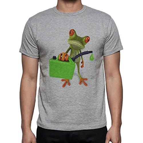 Frog Gas Bag Red Eyes Green Standing Herren T-Shirt Grau