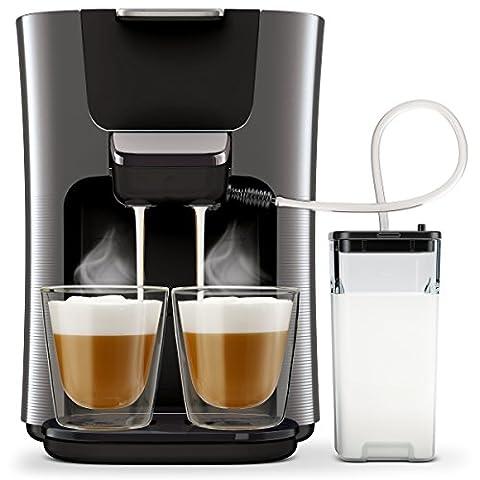 Philips Senseo Latte Duo HD6574/50 Kaffeepadmaschine (2 Kaffee - frische Milch) titanium