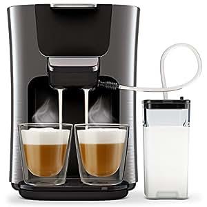 philips senseo hd6574 50 latte duo kaffeepadmaschine 2 kaffee frische milch titanium. Black Bedroom Furniture Sets. Home Design Ideas