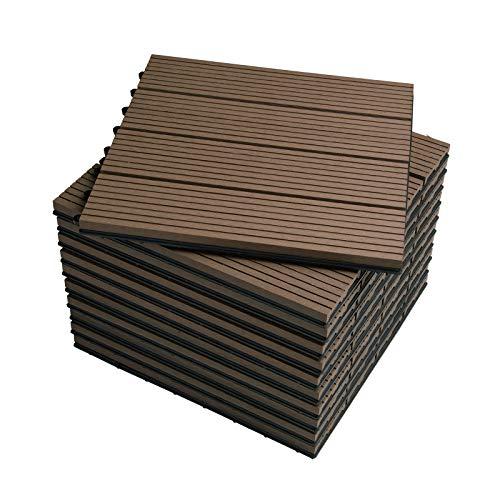 WOLTU GTF001br WPC Terrassenfliesen Terrassendielen Fliese in Holzoptik Bodenbelag mit klicksystem Braun (11 Stück / 1 m²)