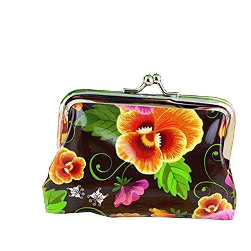 Daojian Mini PU Flower Purse Wallet Coin Bag Case cafe