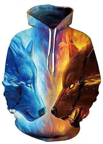 AMOMA Damen digitaldruck Kapuzenpullover Tops Unisex Hoodie Pullover Hooded Sweatshirt(S/M,IceFireWolf)
