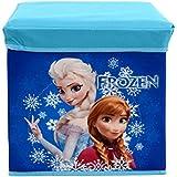 Baby Grow Children's Toy Box Kids Storage Bench Folding Stool Under Lid Toy Chest Organizer (Blue Frozen)