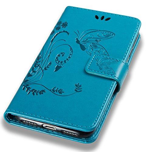 iPhone 8 Hülle Weiß 3D Mariposa Gras PU Leder Wallet Handytasche Flip Etui Schutz Tasche mit Integrierten Card Kartensteckplätzen und Ständer Funktion Für Apple iPhone 8 + Zwei Geschenk blau