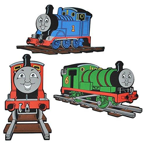 Unbekannt 3 TLG. Set: 3-D Wandtattoo / Wandbild / Türschild - Thomas die Lokomotive aus Moosgummi - Eisenbahn Lok Wandsticker Wanddeko für Kinderzimmer Kind Kinder Deko.. (Thomas Der Zug-bild)
