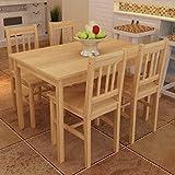 SENLUOWX Esstisch mit 4Stühlen aus Holz, Natur