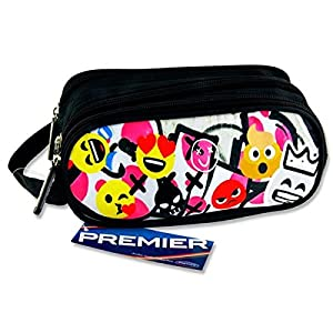 Premier Stationery C5616317 Emoji 's Design Campus – Estuche ovalado con 3 bolsillos y cremallera