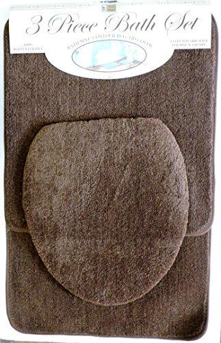 DINY Home & Style 3Stück Bad Teppich Set Schokolade Braun Badteppich Contour Teppich Deckel Rutschfeste Latex-Unterseite (Teppich Bad Braun Contour)