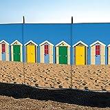 Laeto Windschutz für Sport und Außenbereich, 4 Stangen, 122 cm, Strandhütte, bedruckt