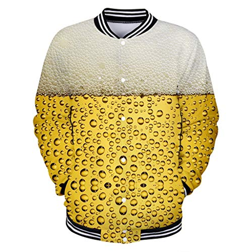 Binggong Herren Oktoberfest Sweatjacke Mantel Hoodie Sweatshirt 3D Bier Drucken Kapuzenpullover Fun Baseballuniform Sweatshirt Outwear