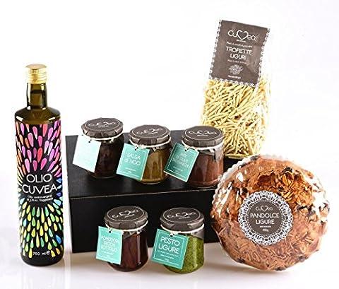 Geschenkkorb Weihnachten Italien Deluxe mit Italienische Delicatessen und Feinkost aus Ligurien - Ohne Konservierungsstoffe und ohne Farbstoffzusatz