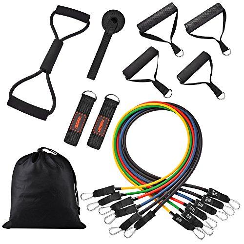 OneTwoFit Widerstandsband-Set Fitnessbänder inkl. kombinierbarer Übungsbänder für das Widerstandstraining Heimtraining mit Türanker Knöchelriemen und Tragetasche OT071