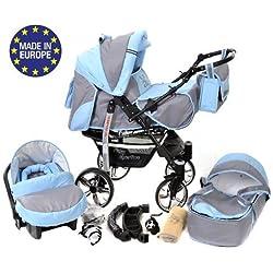 Sportive X2 - Landau pour bébé + Siège Auto - Poussette - Système 3en1 + Accessoires (Système 3en1, gris, bleu)