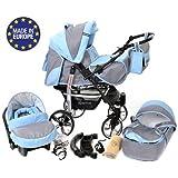 Baby Sportive - Sistema de viaje 3 en 1, silla de paseo, carrito con capazo y silla de coche, RUEDAS GIRATORIAS y accesorios, color gris, azul