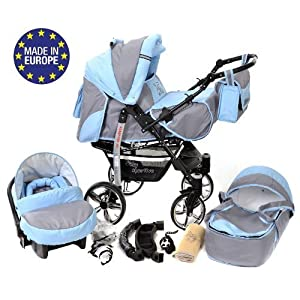 Sportive X2, 3-in-1 Travel System incl. Baby Pram with Swivel Wheels, Car Seat, Pushchair & Accessories (3-in-1 Travel System, Pale Grey & Blue)   2