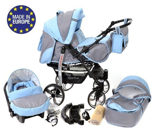 3-in-1 Travel System incl. Baby Pram with Swivel Wheels, Car Seat, Pushchair & Accessories, Pale Gray & Blue 51f2YKrt5tL