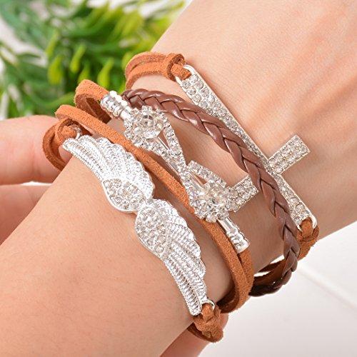 Souarts Bleu Blanc Multi Rangs Bracelet Infini avec Breloque en Forme de Double Coeur Lettre Love Aile
