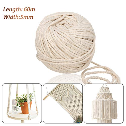 Jeteven 5mm x 60m Cuerda Cordel de Algodón Hilo Macramé 100% Natural Trenzado Algodón DIY Planta de Colgar en la Pared Percha Hecha a Mano Craft para Decoración Interior Decoración Bohemia