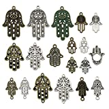 Craft Supplies - Colgantes de plata envejecida para manualidades, joyería, accesorios para hacer collares y pulseras Hand of Fatima