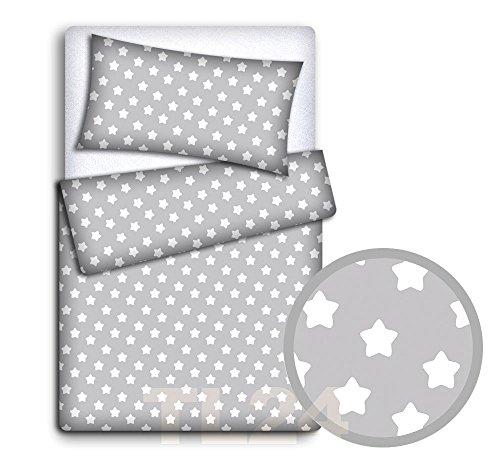 Baby-Bettwäscheset, Kissen- und Bettbezug, 2-teilig, für Babybett (grau mit großen, weißen Sternen)