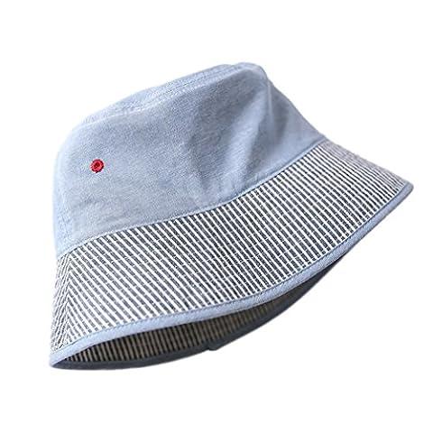 Y-BOA Hat Bébé Enfant Coton Bob Rayure Chapeau de Soleil Plein Air Été Casual 48cm